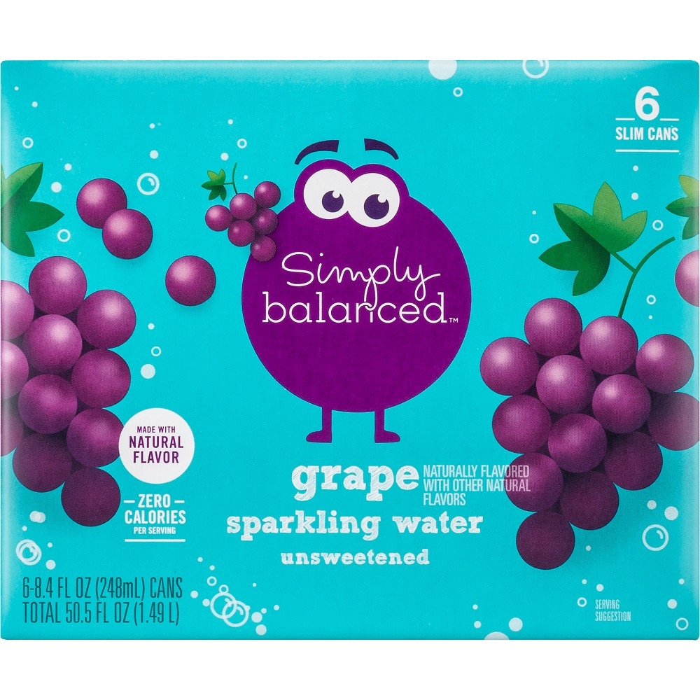 Sparkling Unsweetened Grape Water - 6pk/8.4 fl oz Cans - Simply Balanced