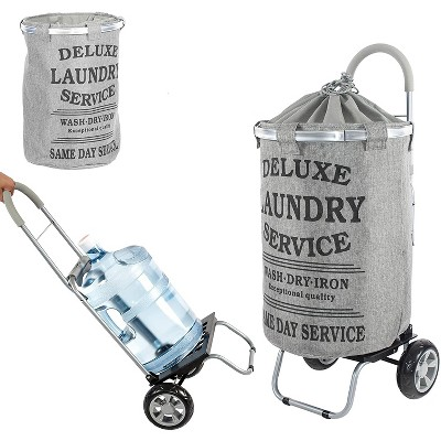 dbest products Laundry Bag Clothes Hamper Basket Wagon Cart Trolley Dolly with Handle, Wheels, and Removable Liner, Grey