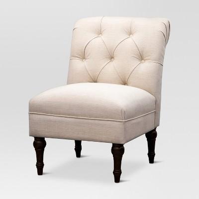 Upholstered Chair Tufted Slipper Linen - Beige - Threshold™