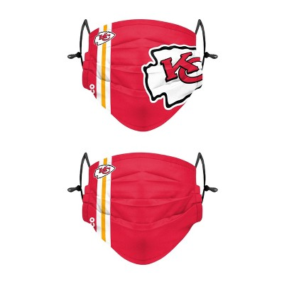 NFL Kansas City Chiefs Adult Gameday Adjustable Face Covering - 2pk