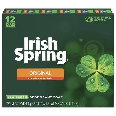 Irish Spring Original Mens Deodorant Bar Soap for Body and Hands - Washes Away Bacteria - 12pk - 3.7oz each