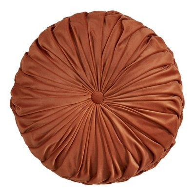"14"" Round Velvet Pintucked Poly Filled Throw Pillow Rust - Saro Lifestyle"