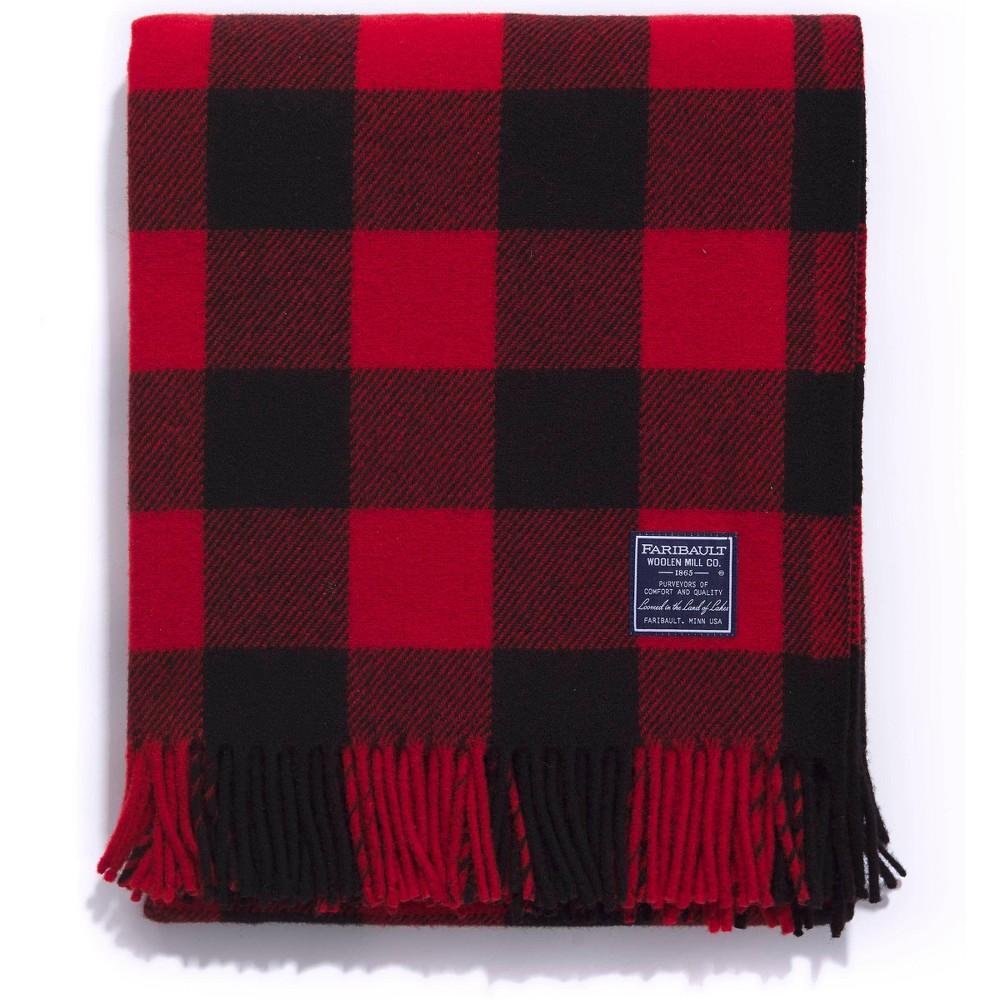 50 34 X72 34 Buffalo Check Throw Blanket Red Black Faribault Woolen Mill