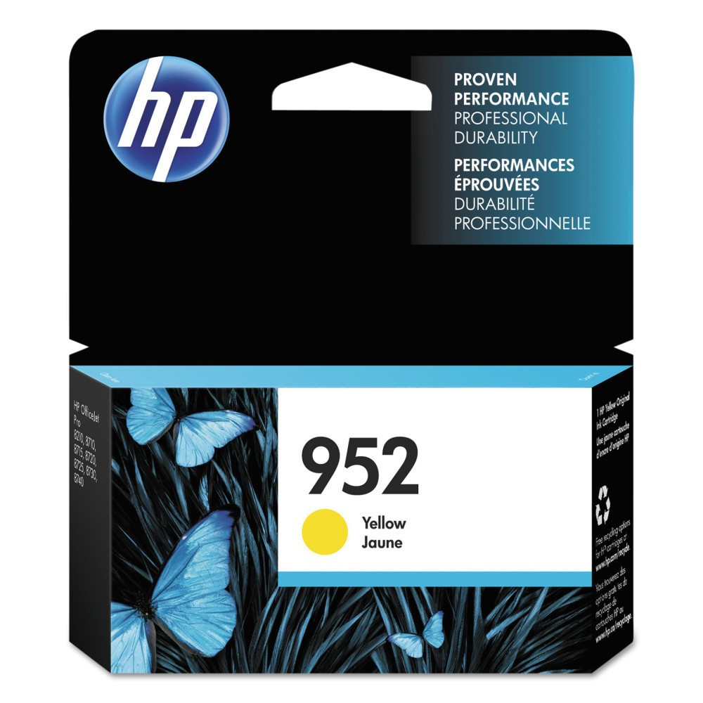 HP 952 Single Original Ink Cartridge - Yellow (HEWL0S55AN) Give your projects and assignments a touch of brilliance with this HP 952 Original Ink Cartridge. The HP printer ink works with high-volume print jobs to deliver consistent and professional prints whether for work or home-based requirements. The printer ink cartridge is compatible with most HP printers. Color: Yellow.