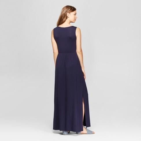 095c06fb9fc0 Women's Sleeveless Zig Zag Embroidered Maxi Dress - Spenser Jeremy - Navy L  : Target