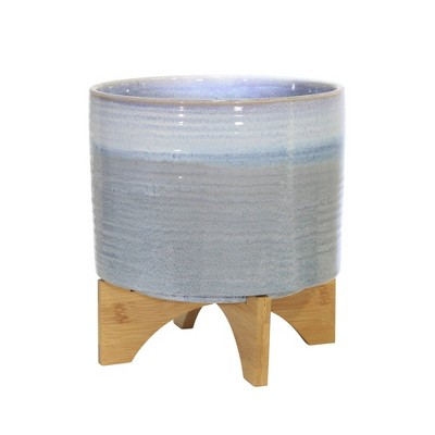 "12"" Ceramic Planter on Stand Blue - Sagebrook Home"