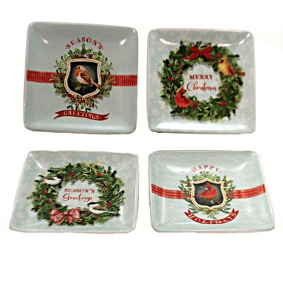 "Tabletop 4.0"" Bird Ceramic Dishes Set/4 Christmas Season Greetings Creative Co-Op  -  Dining Plates"