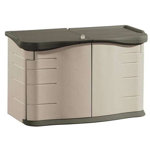 Rubbermaid Portable Outdoor Split Lid Resin Shed with Locking Lid and Impact-Resistant Floor, Olive and Sandstone - image 1 of 2