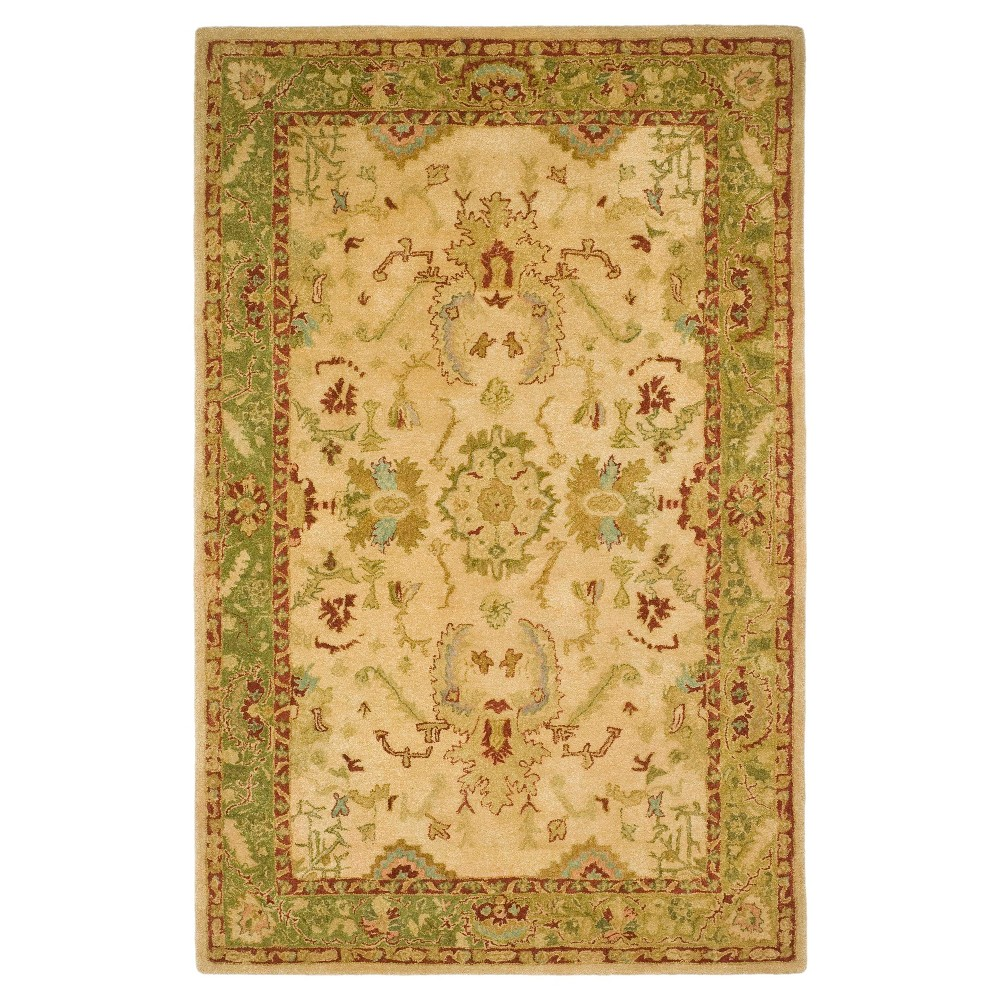 Taupe/Moss Botanical Tufted Area Rug - (5'6