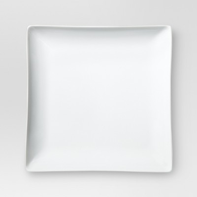 11in Porcelain Square Dinner Plate White 10.3 x10.3  Set of 4 - Threshold™