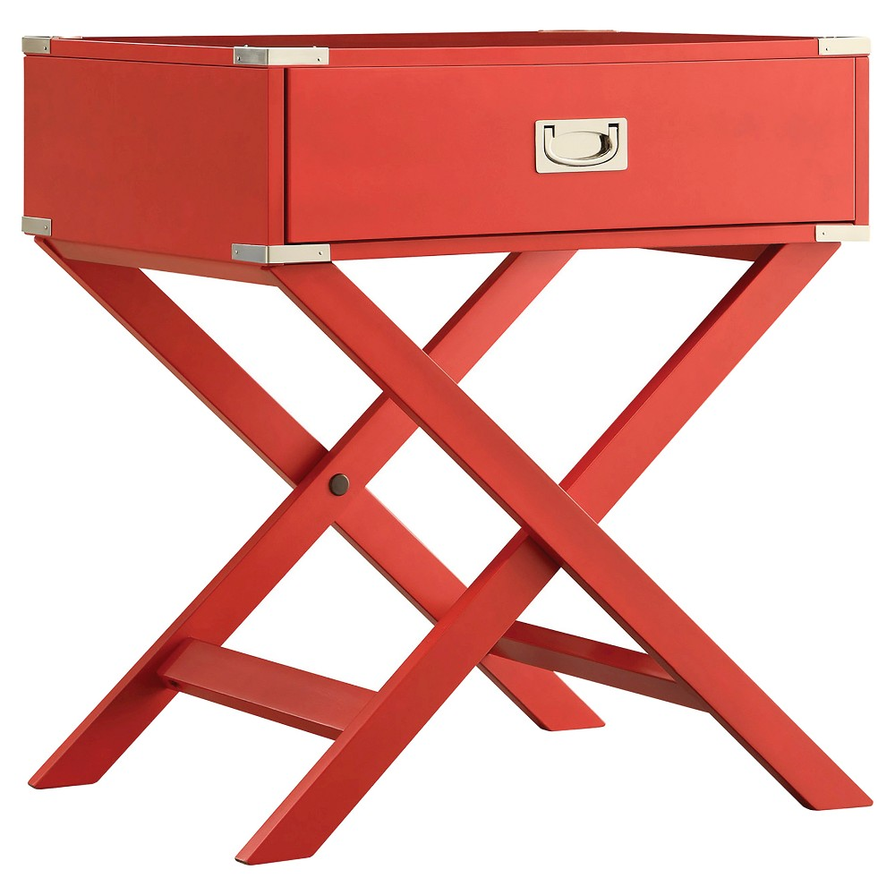 Borden Campaign Accent Table - Red