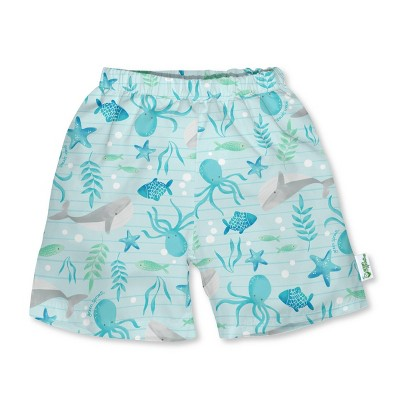 green sprouts Baby Boys' Classic Swim Trunks with Built-In Reusable Diaper - Aqua 0-6M