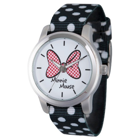 Women's Disney Minnie Mouse Silver Alloy Watch - Black - image 1 of 2