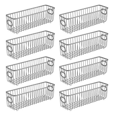 mDesign Metal Bathroom Storage Organizer Basket Bin, Long, 8 Pack