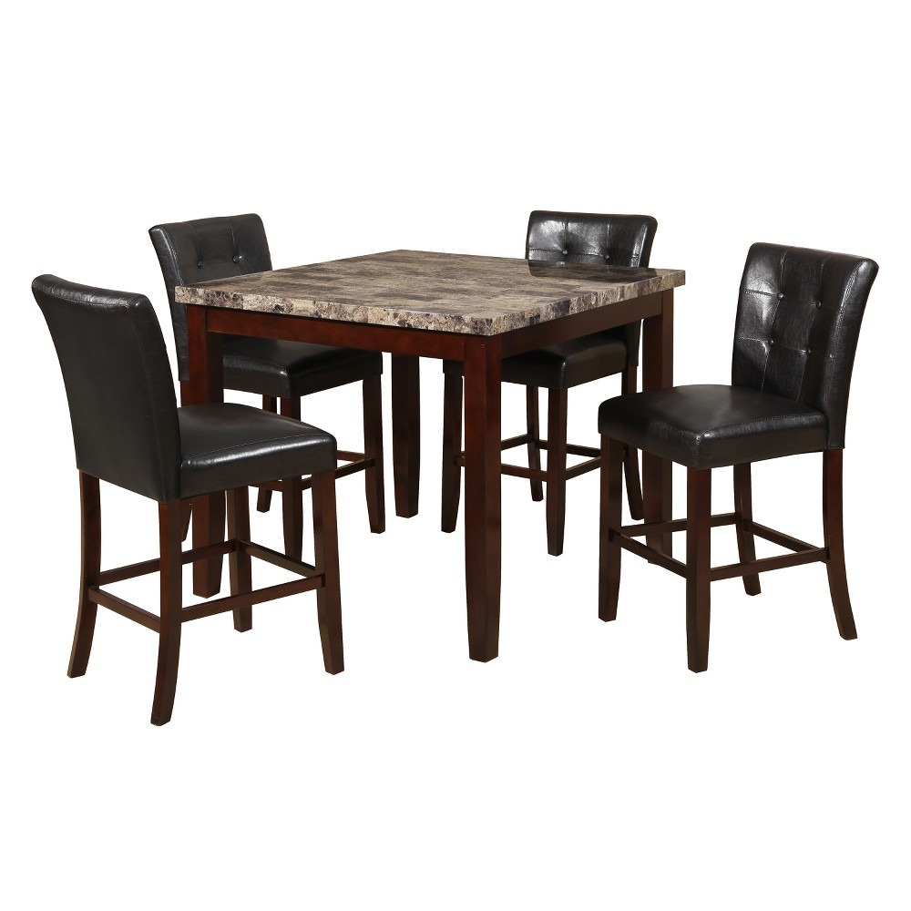 Eddie 5pc Counter Height Table Set Black/Cherry Brown - Home Source Industries