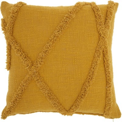 "18""x18"" Distressed Diamond Square Throw Pillow Mustard - Nourison"