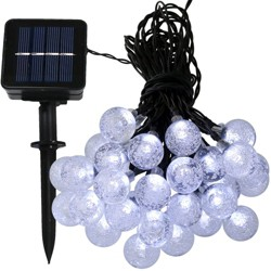 30ct Solar LED Globe String Lights - 20' - White - Sunnydaze Decor
