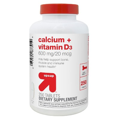 Calcium & Vitamin D Dietary Supplement Coated Tablets - 250ct - Up&Up™