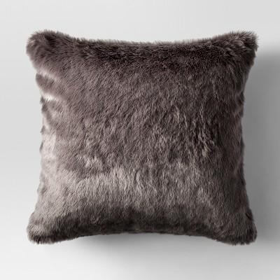 Dark Gray Faux Fur Oversized Throw Pillow - Threshold™