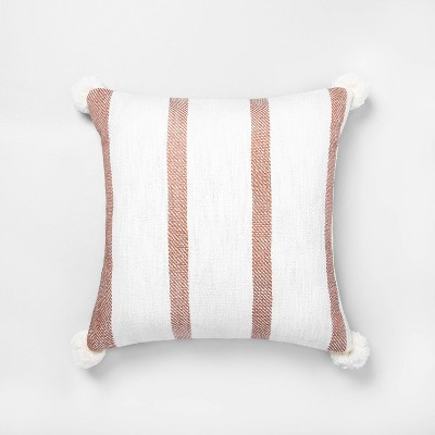"18"" x 18"" Bold Stripes Pillow Copper / Sour Cream - Hearth & Hand™ with Magnolia"