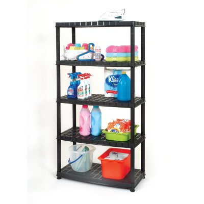 Ram Quality Products Optimo 16 inch 5 Tier Plastic Storage Shelves, Black