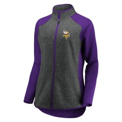 NFL Minnesota Vikings Women's Draft Leader Zip-Up Fleece Sweatshirt - Gray
