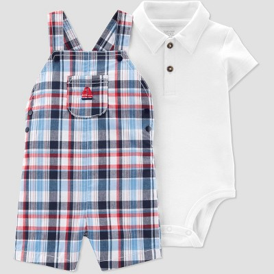 Baby Boys' 2pc Plaid Sail Boat Shortall Set - Just One You® made by carter's White Newborn