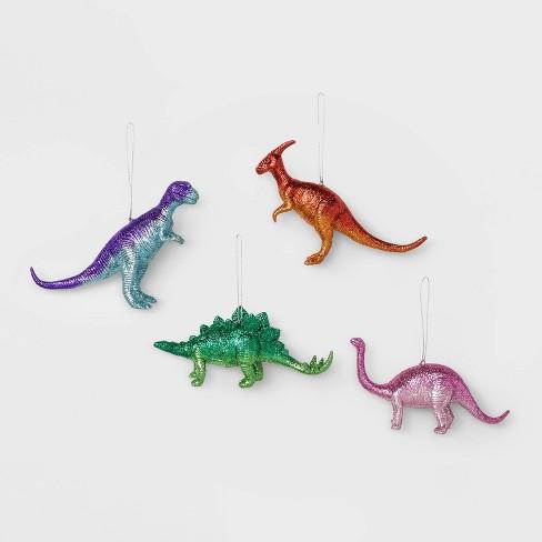 Christmas Dinosaur.4ct Glitter Dinosaurs Christmas Ornament Set Wondershop