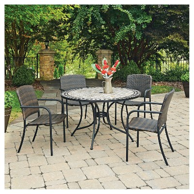 laguna 5pc round wicker and marble patio dining table set black rh target com
