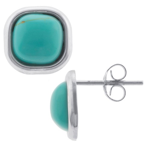 Sterling Silver Square Stud Earrings - Turquoise/Silver - image 1 of 1