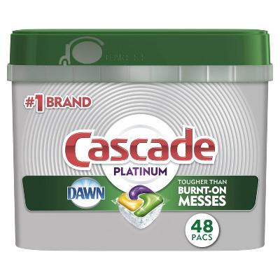 Cascade Platinum ActionPacs Dishwasher Detergent - Lemon Scent - 48ct