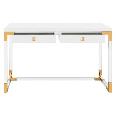 Dariela Acrylic Desk White   Safavieh by Safavieh