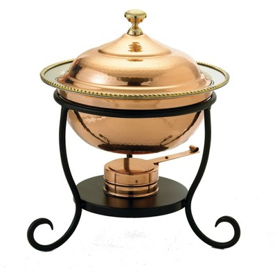 Old Dutch 3qt Steel Hammered Chafing Dish Copper