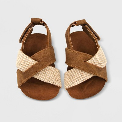 Baby Boys' Cross Top Sandals - Cat & Jack™ 3-6M Brown