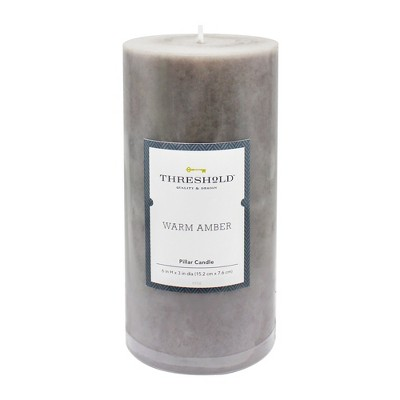 6  x 3  Mottled Pillar Candle Warm Amber - Threshold™