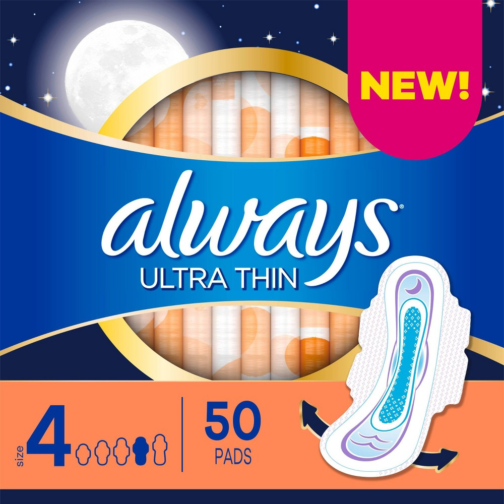 Always Ultra Thin Overnight Absorbency Unscented Pads With Wings Size 4 50ct