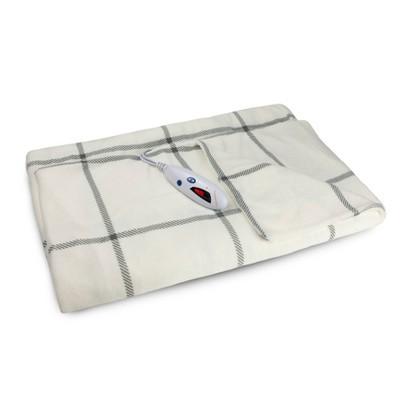 """62"""" x 50"""" Microplush Electric Throw Blanket Windowpane - Biddeford Blankets"""