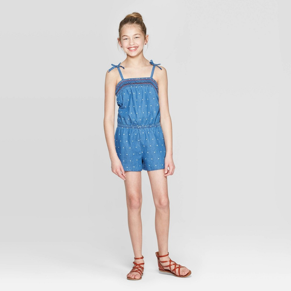 Girls' Woven Tie Strap Romper - Cat & Jack Blue XS