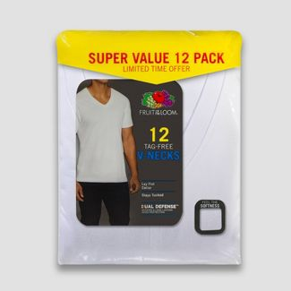 Fruit of the Loom Men's 6+6 Super Value Pack V-Neck T-Shirt Undershirt - White S