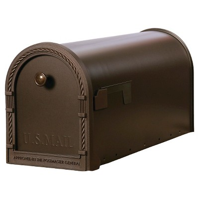 Gibraltar Designer Medium-Size Steel Post-Mount Mailbox with Decorative Frame - Venetian Bronze