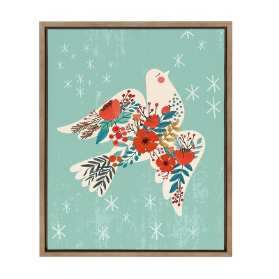 """18"""" x 24"""" Sylvie Dove and Peace by Mia Charro Framed Canvas Gold - Kate & Laurel All Things Decor"""
