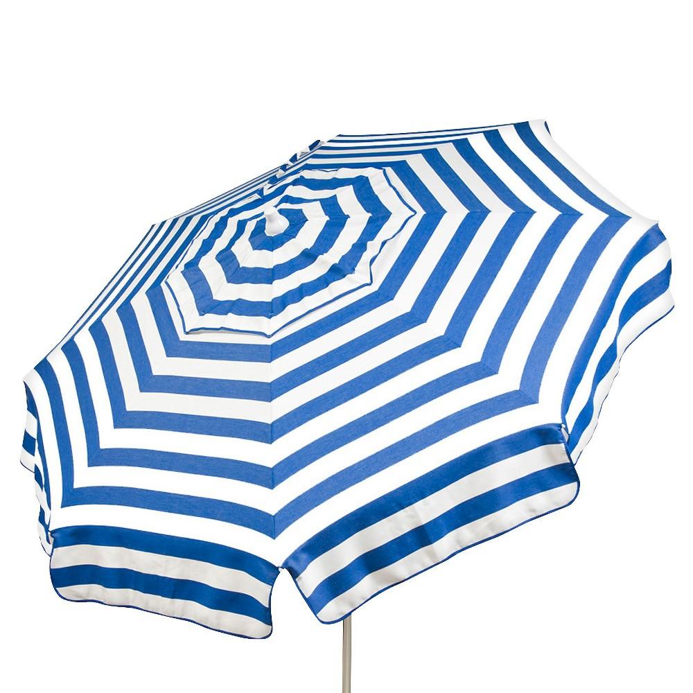 Image of 6' Italian Aluminum Collar Tilt Bar Height Patio Umbrella - Parasol, Blue White