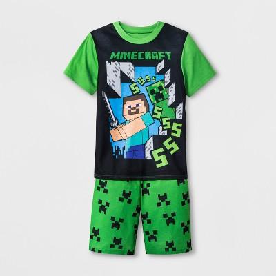 3a1b61841b21 Boys  Minecraft 2pc Pajama Set - Green Black