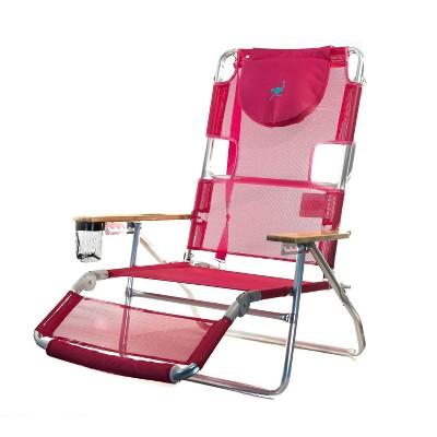 Ostrich 3 N 1 Lightweight Aluminum Frame 5 Position Reclining Beach Chair, Pink