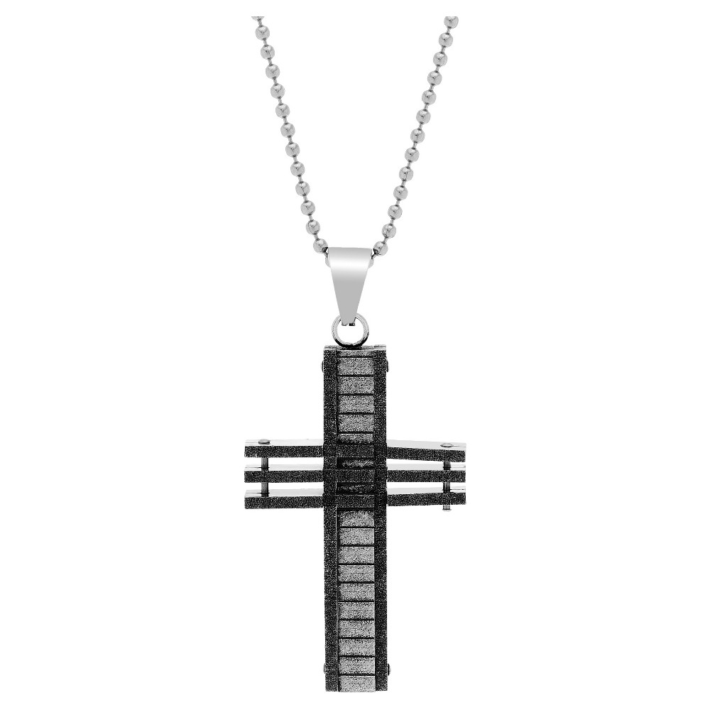 Silver-Tone Stainless Steel Men's Oxidized Bar Optic Cross Pendant 26 Round Box Chain Necklace, Silver
