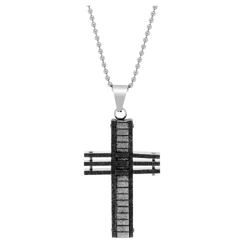 "Silver-Tone Stainless Steel Men's Oxidized Bar Optic Cross Pendant 26"" Round Box Chain Necklace - image 1 of 1"