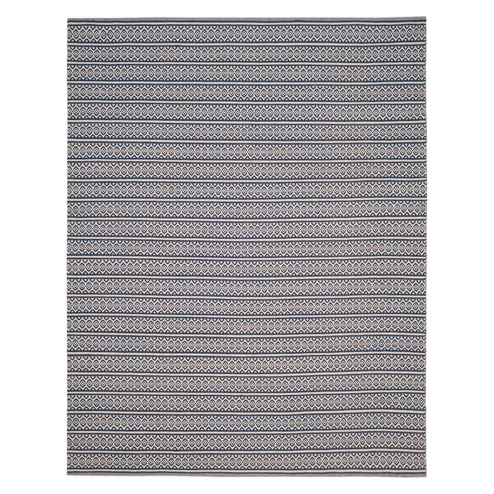 Geometric Woven Area Rug Ivory/Navy