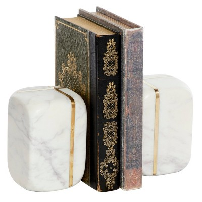 """6"""" x 5"""" Cubed Marble Bookends with Metal Accents White/Gold - Venus Williams Collection"""