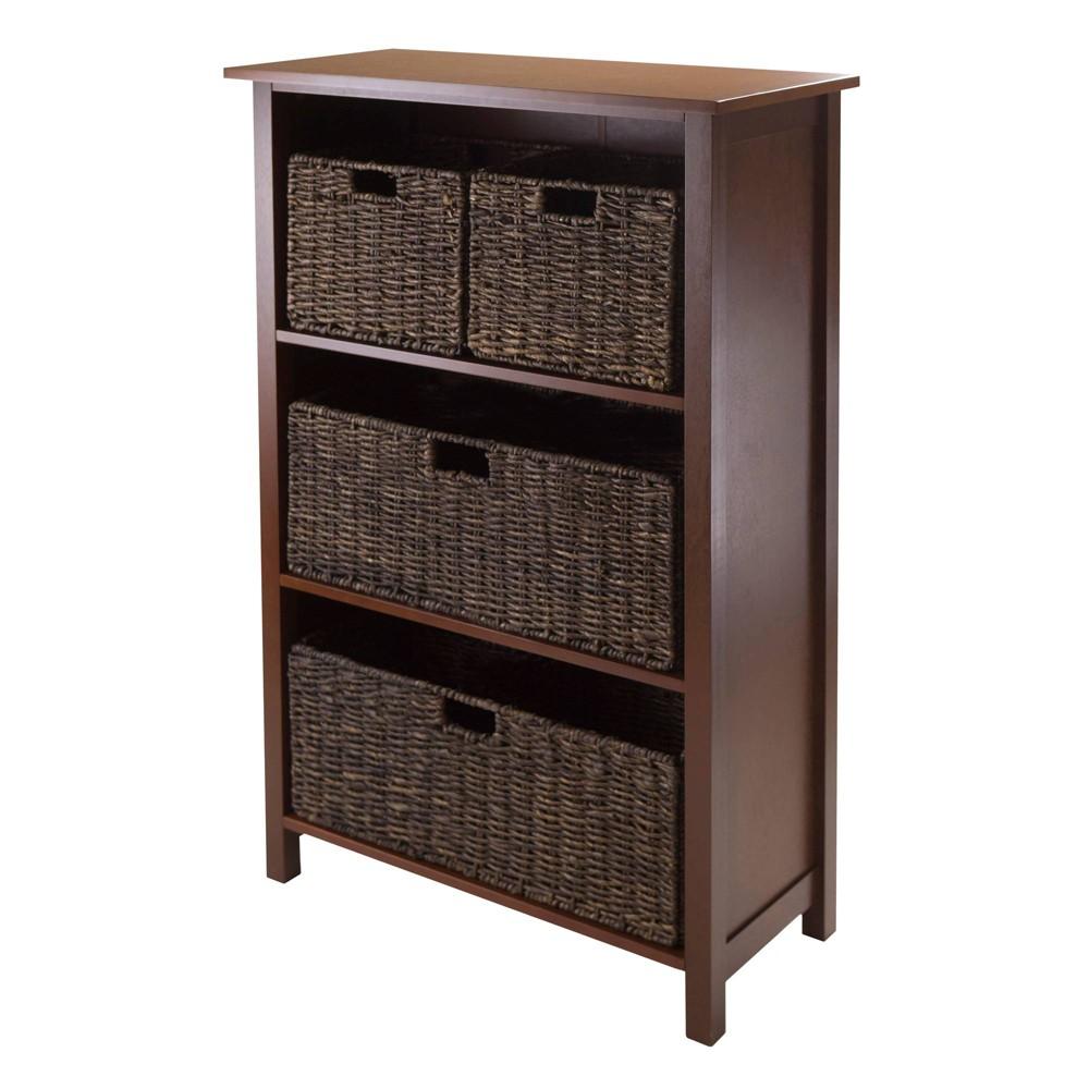 5 Piece Granville Set Storage Shelf with Baskets Wood/Walnut (Brown)/Chocolate/Espresso - Winsome