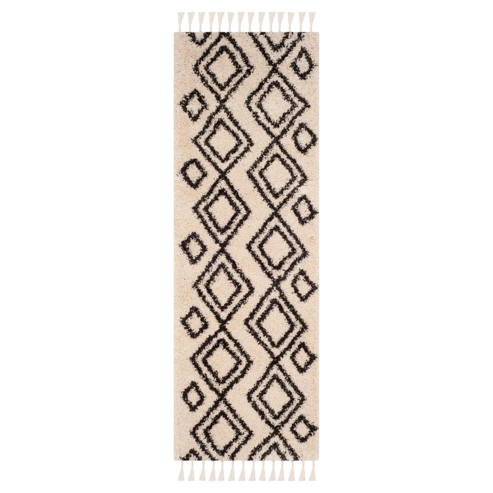 Cream/Charcoal Geometric Loomed Runner 2'3X7' - Safavieh, Gray Off-White